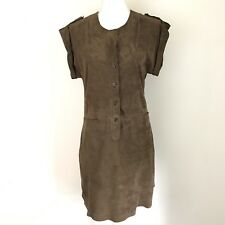 NWOT Sita Murt M Goat Leather Dress Brown Mini Soft Button Short Sleeve Career