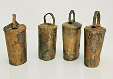4 Antique Copper Steel Metal Cow Bells Hand Forged Working Clappers