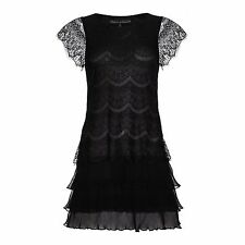 Patternless Short/Mini Synthetic Tiered Dresses for Women