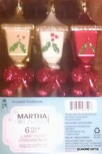 "MARTHA STEWART LIVING 7"" LAMP POST CHRISTMAS TREE ORNAMENTS SET 6 NIB"
