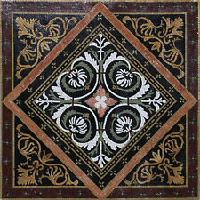 Symmetrical White And Grey Flowers Floral Carpet Home Marble Mosaic Geo478