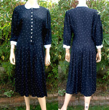 Richards Vintage Polka Dot Dress Peter Pan Collar 3/4 Sleeves Pockets 10