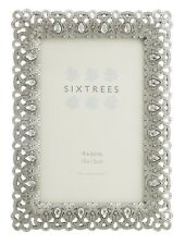 Sixtrees Diana Vintage Shabby Chic Silver Photo Frame With Beads & Crystals 6x4