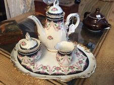 4 pc Tea Set Pot Sugar Creamer Tray White Blue Pink