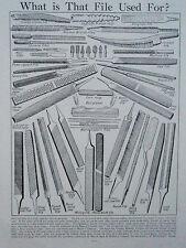 Types de fichier ancien rétro vintage OUTILS Print Wood & Metal Carpenter couteau Râpe