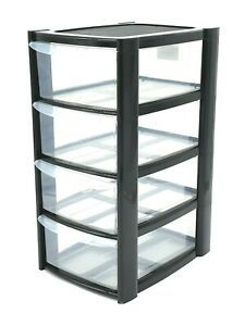 Black Plastic 4 Drawer Tower Storage Unit Small A5 Stationery Filing 40cm New