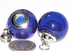 Wide Mouth Glass Crystal Ball Bottle fairy Locket vial Screw top Globe Orb DK BL