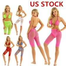 US Women Sparkle Rhinestone Bikini Fishnet Bra & Shorts See Through Bathing Suit