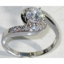 White Gold Plated Solitaire with Accents Costume Rings