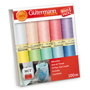 Gutermann Sew-All Pastels 100% Polyester Thread Set 10 x 100m