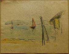 Dessin Original Aquarelle PAUL COUVREUR - Marine Bateaux vers 1930 - PC2
