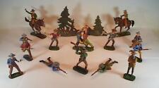 Elastolin  Masse Figuren Wildwest Cowboy Konvolut mit 2 Reitern und Bäumen #098