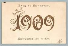 """1909 """"Back to MONTREAL"""" Embossed & Foiled Antique New Year's Quebec Postcard"""