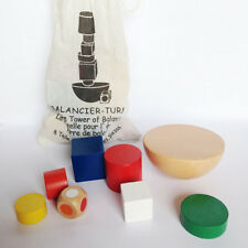 Baby Wooden Geometric Blocks Montessori Balancing Game Toy Canvas Bag Infant Boy