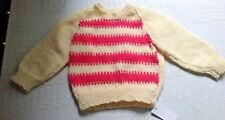 SIZE 0 - SIZE 1 BABY GIRLS CREAM  PATTERNED LONG SLEEVE HAND KNITTED JUMPER BNWT