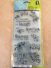 Inkadinkado Clear Acrylic Stamps Thoughts for the Day Sentiments 60-30062 NEW