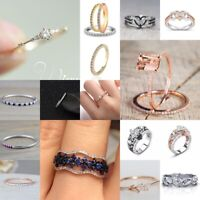 Lady 925 Silver 18K Rose Gold Plated Heart White Topaz Ring Wedding Jewelry Gift