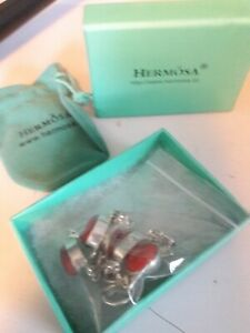 HERMOSA 925 Sterling Silver Faux Red Coral Panel Bracelet - NIB w/ pouch !