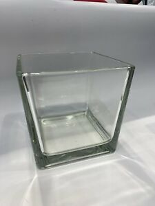 Glass Clear Cube Vase Square Home Decor Storage Kitchen Pot Container