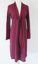 New Cadeau Maternity Dress Long sleeve Empire waist Cotton Size S Burgundy Italy