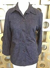 CHICOS 2 NWT Cotton Embroidered Mariela Jacket Navy Blue Shirt Jacket Blazer Top