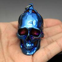 Men's Huge Heavy 75 Grams Skull Blue Stainless Steel Biker Necklace Pendant