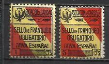0487-2 SELLOS LOCALES GRANADA DIFERENTES 1 Y 5 CTS MNH** VIVA ESPAÑA OBLIGATORIO