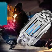 Ee _ Hombre Mujer Creativo Acero Inoxidable LED Reloj de Pulsera Binario Reli