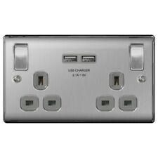 BG  Steel Double Switched Socket With USB (NBS22UG)