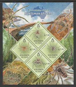SOLOMON ISLANDS 2013 Australian Animals SPIDERS Souvenir Sheet Set 4v MNH