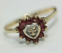 Vintage 0.5 CT Heart Shape Red Ruby Estate 10K Gold Women's Ladies Ring Size 6