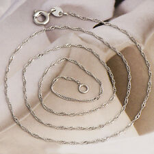 Women's 18K White Gold Filled Mans Handsome Wave Chain Necklace Bridal Jewelry