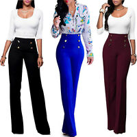 Women Solid Palazzo Wide Leg Flared OL Pants Ladies Summer High Waist Trousers