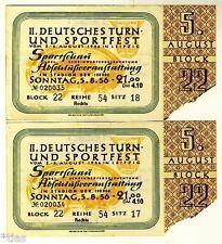 II. German Gymnastics and Sports Festival Leipzig 1956 2 Tickets Ticket GDR