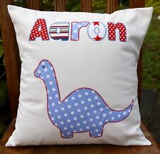 KIDS GIFT personalised cushion childrens named name pillow dinosaur applique boy