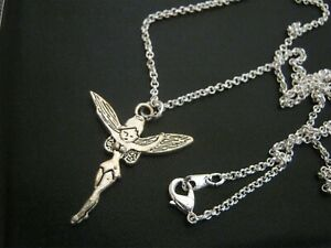 A Silverplate TINKERBELL Pendant on 2mm Silverplate ROLO Necklace Chain Gift NEW