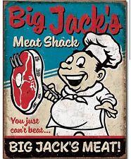 Big Jacks Meat Shack Metal TIN Sign Funny Humor Garage Man Cave Wall Decor New