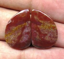 NATURAL BLOOD STONE CABOCHON FANCY SHAPE PAIR 17.35 CTS LOOSE GEMSTONE D 5822