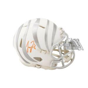Joe Burrow Autographed Bengals Ice Mini Football Helmet - Fanatics (Orange Ink)