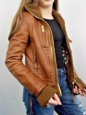 Dsquared2 Italy Lambs Leather Brown Bomber Ladies Jacket Wool Trim Size 8US/40EU