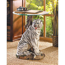 WHITE TIGER ACCENT GLASS END TABLE DECOR NEW~JT'S GIFT SELECTION~39587