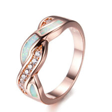 Women Rose Gold Wave CZ Cross White Fire Opal Band Ring Wedding Gift Size 5-10