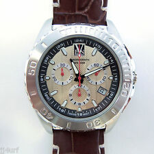 VEN SWISS, Swiss Movement, StSl Chrono Watch, 45mm, Date, VS811.06 Brown Leather