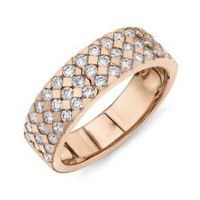 Womens 6 MM 14K Rose Gold Diamond Wedding Ring Band Triangle Prong Set 3 Row