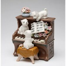 """New Dogs On A Piano Brown & White Porcelain """" Puppy Love"""" Figurine Music Box"""