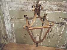 Vintage Solid Brass Light Fixture Ceiling Hanging Antique Patina Glass Period z