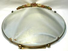"""ART DECO BARBOLA DRESSING TABLE 11"""" OVAL FLORAL MIRROR"""