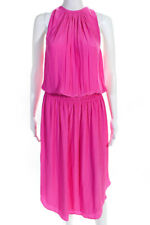 Ramy Brook Womens Audrey Popover Halter Midi Dress Hot Pink Size Extra Large