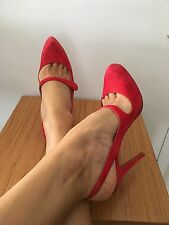 Authentic CHRISTIAN LOUBOUTIN Red Suede Mary Jane Platform Sling back Pumps 39.5
