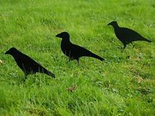 3 Realistic Crow Bird Decoy Hunting Targets Deterrent Garden Metal Outdoor Bird